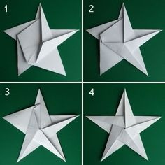 Folding 5 Pointed Origami Star Christmas Ornaments by kelly.meli