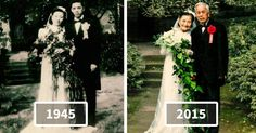 Every wedding anniversary is worthy of celebration, but a 70th anniversary is one that deserves something truly special. Chinese couple Wang Deyi, 98, and Cao Yuehua, 97, were married in 1945 at Northern Hot Springs Park in Chongqing. They had four children who, this year, helped them to recreate the wedding photo from so long ago.