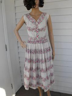 Vintage 50s Dress Floral Print Pink White Doris Dodson by soulrust, $89.99