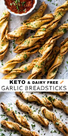 Garlic Dairy Free & Keto Breadsticks (Or Twists!)You can find Dairy free keto and more on our website.Garlic Dairy Free & Keto Breadsticks (Or Twists! Dairy Free Keto Recipes, Dairy Free Low Carb, Dairy Free Snacks, Ketogenic Recipes, Low Carb Keto, Diet Recipes, Healthy Recipes, Ketogenic Diet, Dairy Free Bread