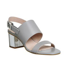 Office Meadow Block Heel Sandals Grey Leather - Mid Heels