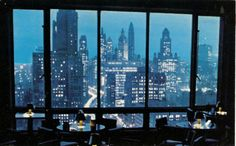 View from the Tip-Top-Tap at the Allerton Hotel, 1960, Chicago. Moscow Mule was the specialty drink.
