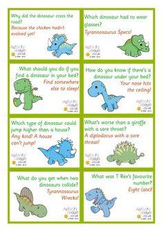 Dinosaur Jokes Lunch Box Notes – Anna's Kiddie Favorites – Lunch Kids Lunch Box Notes, Lunch Box Jokes, Funny Jokes For Kids, Kid Jokes, Funny Puns, Funny Stuff, Kid Friendly Jokes, School Jokes, School Lunches