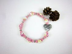 Silver Heart Charm Pink Glass Stretch Bracelet by ThreadedChains