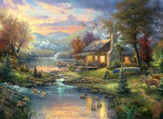 Thomas Kinkade Natures Paradise Cross Stitch Pattern***L@@K***~~I SEND WORLD-WIDE ~~