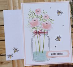 HANDMADE STAMPIN UP! JAR OF LOVE, HAPPY BIRTHDAY, THANK YOU, GET WELL CARD KIT WITH MATCHING ENVELOPES.  YOU WILL RECEIVE 1 COMPLETED HAPPY BIRTHDAY CARD AND ALL THE SUPPLIES YOU WILL NEED TO MAKE 3 MORE CARDS. YOU WILL ALSO RECEIVE 3 MORE HAPPY BIRTHDAY, 3 GET WELL SOON, & 3 THANK YOU SENTIMENTS. THIS WILL LET YOU PERSONALIZE EACH CARD. ADHESIVE IS NOT INCLUDED IN THIS KIT.  EACH CARD IS IN ITS OWN A2 CLEAR CELLOPHANE SLEEVE ENVELOPE. A GREAT WAY TO PROTECT, MAIL, OR STORE YOUR CARD. CAR...