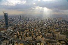 سماء عمان هذا الصباح . All Jordans, Jordan Amman, Places Ive Been, Paris Skyline, Beautiful Places, Old Things, Around The Worlds, City, Travel