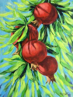 """Pomegranates – framed original painting"" by Irina Redine. Paintings for Sale. Acrylic Art, Acrylic Painting Canvas, Canvas Art, Moon Painting, Fruit Painting, Pomegranate Art, Online Art Gallery, Painting Inspiration, Original Paintings"