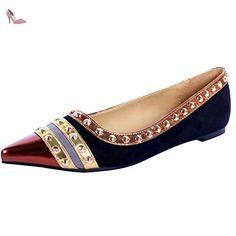 Oasap Women's Pointed Toe Color Block Rivet Flat Heels Shoes, Black  EURO36/US5/
