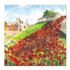 Poppy Wave at Lincoln Castle Greeting Card, Unique greeting Cards and Gifts by Paradis Terrestre made in Britain