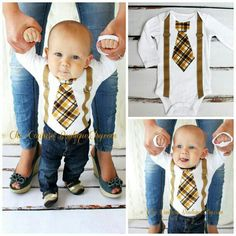 Tie and suspenders boy onesie!