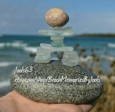 Rock art, stone art , inukshuk, beach glass,  seaglass, inukshuk art, beach art, beach decor, glass art, beach glass art, sea glass art,  etsy, beachmemoriesbyjools, waves, glass statue, native art