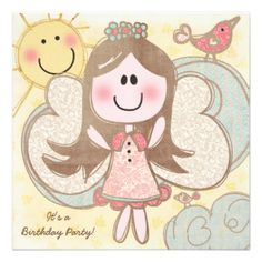 Little Angel customizable birthday invitations, so cute for your little angels birthday party! Easy to customize with her birthday party specifics, these Little Angel birthday invitations feature a brown haired angel with a ring of blue flowers in her hair, and a printed fabric look dress and wings. Little birds of pink and red sit on clouds and the sun smiles brightly! #customized #birthday #invitations #kids #birthdays #birthdays #kids #angel #little #angel #cute #birds #angel #birthday…