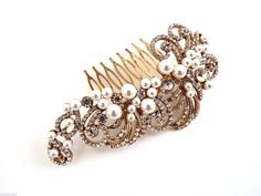 Beautiful Vintage Style Pearl Crystal Gold Tone Hair Comb Slide Bridal Prom   eBay