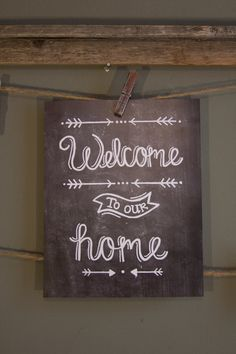 Welcome to our Home Chalkboard Print by MidtownMorning on Etsy. So cute!