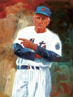 Legend Casey Stengel by George Guzzi - Original Illustration Art Baseball Live, Mets Baseball, Baseball Art, Sports Baseball, Sports Art, Baseball Players, Baseball Odds, Sports Pics, Baseball Games