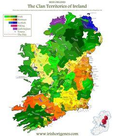 Clan Map of Ireland - Irish Origenes: Use Family Tree DNA to Discover Your Genetic Origins - Irish Surnames Map Ireland Map, Ireland Travel, Tipperary Ireland, Travel Europe, Dna Genealogy, Family Genealogy, Ancestry Records, Irish Roots, England