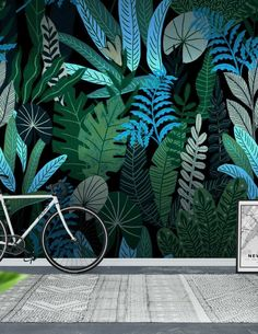 Jungle at Night Wall Mural / Wallpaper Patterns Jungle at Night Wallpaper from Happyw Jungle Pattern, Mural Wall Art, 3d Wall, Mural Painting, Wall Wallpaper, Pattern Wallpaper, Wallpaper Jungle, Mural Floral, Plant Illustration