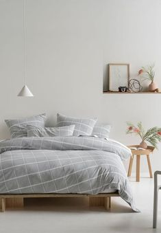 Stay cosy this winter with this ultra soft duvet set. It features a woven, check design with light neutral palette of soft grey and white and finished with contrasting white cord piping – creating an effortlessly modern bedroom aesthetic. Neutral Palette, Duvet Sets, Modern Bedroom, Grey And White, Comforters, Bedding, Blanket, House, Furniture