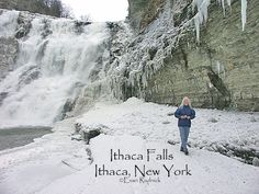 Located in the City of Ithaca, Ithaca Falls has a cascading drop of 150 ft. and a width of 175 ft. This rocky ledge is one of several over which Fall Creek flows. Access to the falls in on Lake Street. Open to the public. Parking. Swimming prohibited. Dogs must be leashed.
