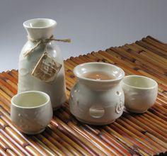 Sake set with warmer in white Romantic wedding by nelaceramics