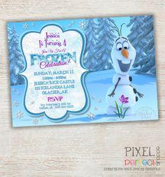 Girls Frozen Birthday Invitation, Frozen Birthday Party, Frozen Invitation, Frozen Birthday Invitation, Disney Invitation, Snowflake, Frozen...