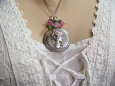 Silver Cameo Locket Raised Victorian by CreatedinTheWoods on Etsy