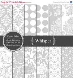 #projectlife: ON SALE Whisper Digital Paper Kit // 12x12 inch 300 dpi jpeg. $3.25, via Etsy.