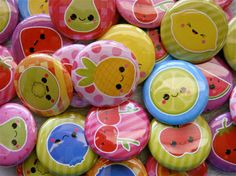 28 Kawaii Fruits Cuties - Pinback Buttons - Kawaii Buttons - Kawaii Pins - Kawaii Grab Bag Cute 1 inch