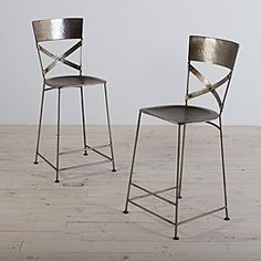 Jabalpur Antique Nickel Counter Stool (India) (Set of 2) | Overstock.com Shopping - Top Rated Bar Stools