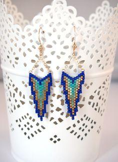 Boucles d'oreilles JAYA  perles Miyuki et or Golfilled ▲ bleu et vert