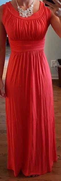 Small...Gilli Astra sleeveless maxi dress - I love the coral color and it would be so cute with a jean jacket and the  Florian Beaded Fringe Necklace Please!!!