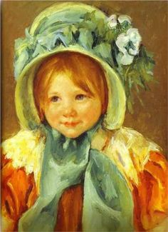 Sarah in a Green Bonnet - Mary Cassatt, 1901. I had to replicate this painting as part of a college project/report on Mary Cassatt..