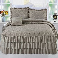 Serenta Ruffle Matte Satin 4 Piece Coverlet Set Size: King, Color: Taupe