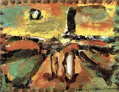 lawrenceleemagnuson:  Georges Rouault (France 1871-1958)Autumn Sky (n.d.)oil on paper on canvas 15.2 x 19.2 cm