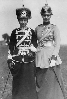 Princess Victoria Louise of Prussia, the only daughter of Kaiser Wilhelm II, and her sister-in-law Princess Cecile of Prussia, wife of her brother Crown Prince Wilhelm of Prussia.