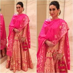 Karishma Kapoor in Neeru's Anarkali – South India Fashion Indian Attire, Indian Wear, Indian Outfits, Sharara Designs, Kurti Styles, Indian Couture, Traditional Looks, India Fashion, Women's Fashion
