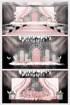 Pink fresh love wedding effect picture Wedding Backdrop Design, Wedding Stage Design, Wedding Reception Backdrop, Wedding Stage Decorations, Backdrop Decorations, Wedding Mandap, Wedding Table, Japanese Theme Parties, Pink Blue Weddings