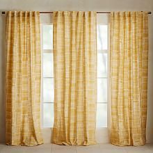 Mid-Century Cotton Canvas Etched Grid Curtain, Set of Horseradish, at West Elm - Window Treatments - Home Decor - Wall Decor Yellow Window Treatments, Yellow Curtains Living Room, Modern Window Treatments, Yellow Curtains, Modern Windows, Mid Century Modern House, Mid Century Modern Curtains, Home Decor, Yellow Living Room