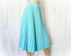 Vintage 70s Pleated Skirt M L Light Blue Knit by PopFizzVintage, $34.00