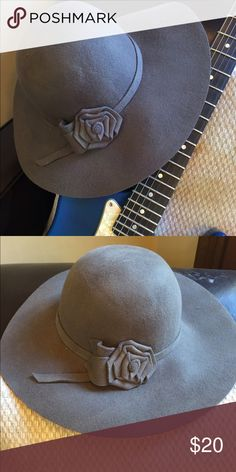 Boho felt hat NWOT Perfect for Festival season 🎼🎸🥁.          Boho gray felt hat with flower. Brand new without tags, never worn. Accessories Hats