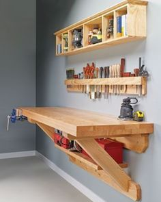 Wall mounted workbench woodsmith plans shop made tools wall mounted bench wall mounted workbench plans Carpentry Projects, Easy Woodworking Projects, Easy Projects, Woodworking Shop, Woodworking Plans, Project Ideas, Woodworking Furniture, Popular Woodworking, Woodworking Workshop