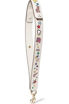Anya Hindmarch - All Over Wink Stickers Embossed Leather Bag Strap - White - one size