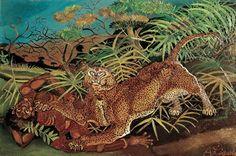 Antonio Ligabue, Leopardo con indigeno, 1956, Olio su faesite - CoSA   Contemporary Sacred Art