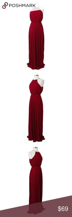 Burgundy Red Sleeveless Halter Pleated Maxi Dress High Waist Silhouette Halter Neckline Chain Collar Open Back Pleated Skirt 100% Polyester MBM Unlimited Dresses Maxi