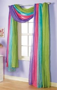 "For a young girls room, this window scarf adds character to this room. When you walk in and see all of the colors it screams ""FUN""."