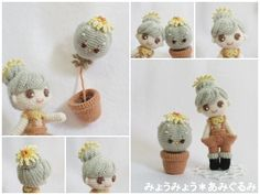 Amigurumi doll and her plant by pagina japonesa. (Inspiration).