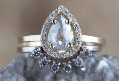 NATURAL SILVER-GREY ROSE CUT DIAMOND RING WITH PAVÉ HALO :: Alexis Russell