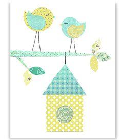 Aqua and Yellow Nursery Bird Nursery by SweetPeaNurseryArt on Etsy Coral Nursery, Bird Nursery, Nursery Art, Applique Templates, Applique Designs, Diy Arts And Crafts, Paper Crafts, Purple Bird, Applique Quilts