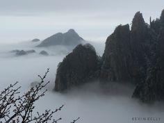 misty yellow mountains